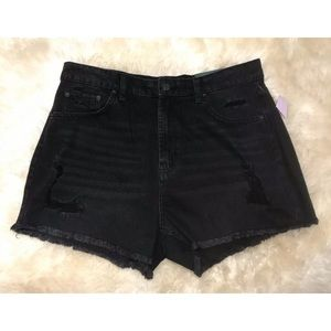 Wild Fable Jean Shorts High Rise Distressed Black